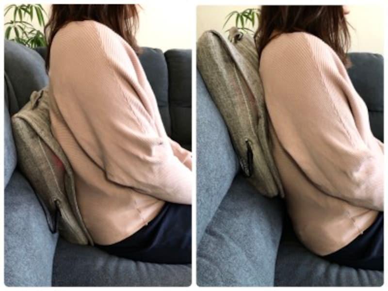 背もたれに挟んで腰に当てたり、肩に当てたり。マッサージクッションの上に寝そべって使うと、かなり強いもみ心地に!