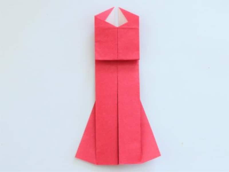 母の日折り紙カードドレス 写真のような形になります。