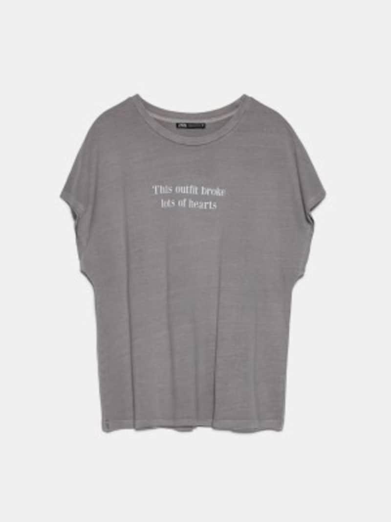 ZARAウォッシュテイストテキストTシャツ1590円(税抜)
