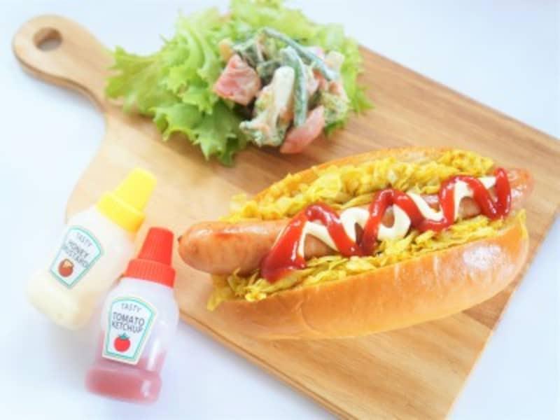 おうちピクニック子ども料理 カレー味のキャベツが美味しい大阪ホットドッグ