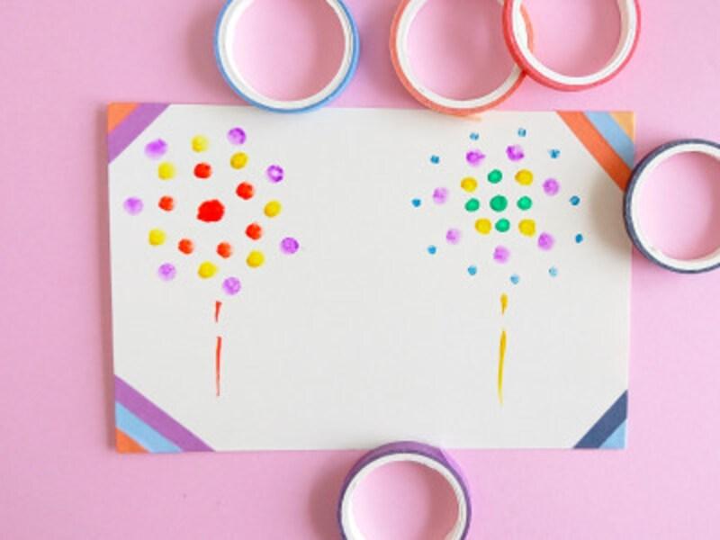 絵葉書夏手作り作り方マスキングテープで飾り付け