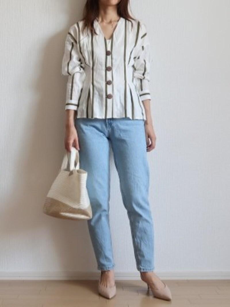 ZARAストライプリネンシャツ 4990円(税込)