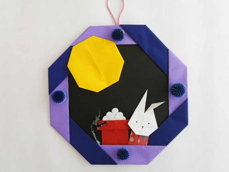 かわいいうさぎのついた折り紙お月見リース