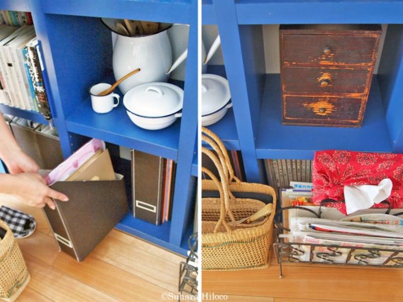オープン収納やカラボと組み合わせる収納ボックス