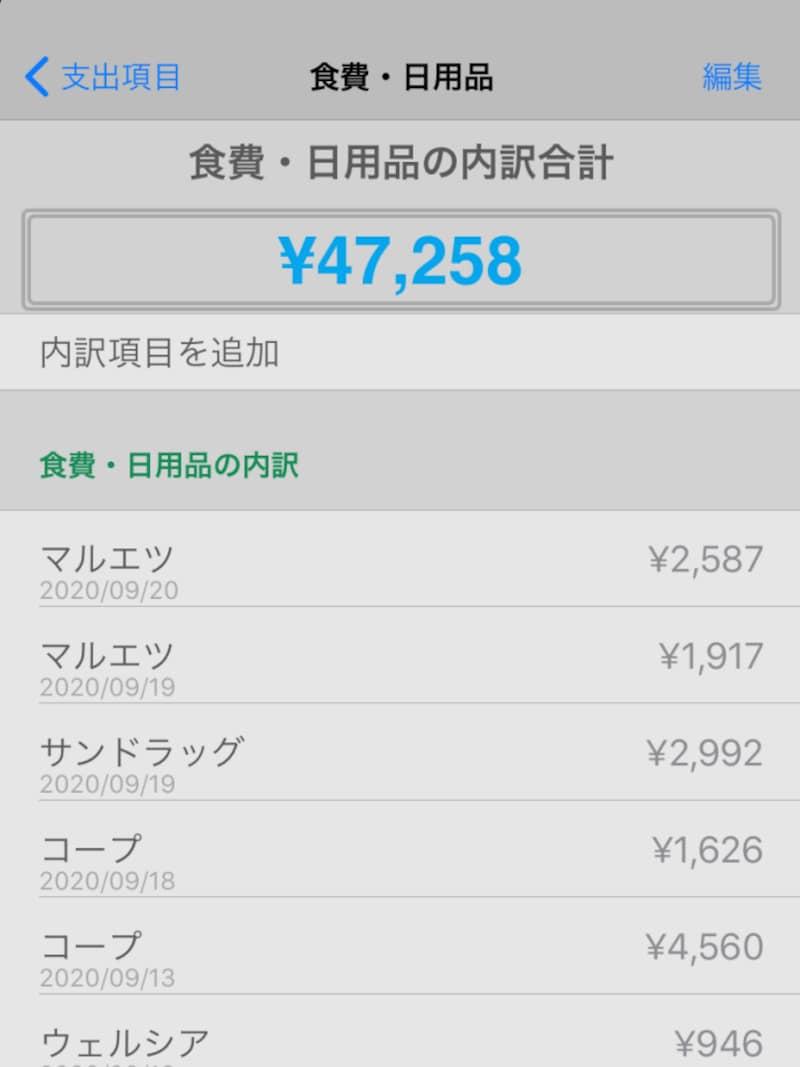 日々の支出をつけている家計簿アプリ