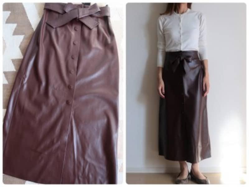 トレンド感だけではなくシルエットもきれいなレザー調スカートならZARA!