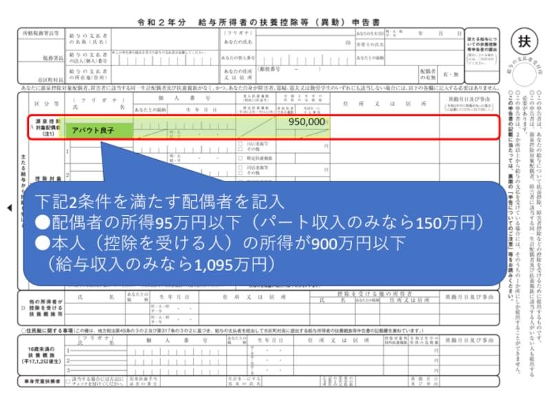 源泉控除対象配偶者,所得要件,本人,配偶者,95万円,900万円