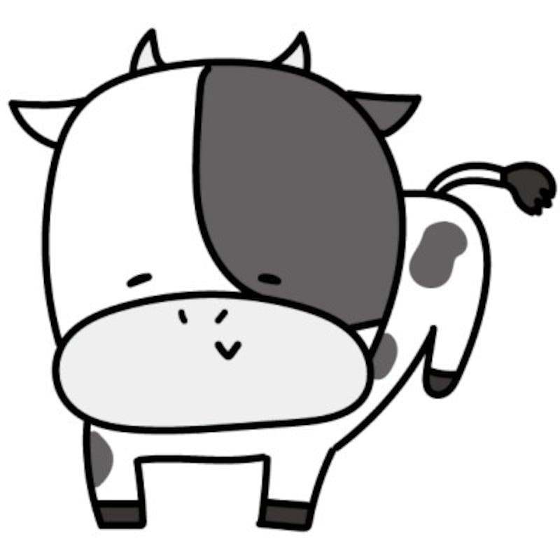 うし 牛 ウシ 丑 イラスト 年賀状 2021干支 無料 フリー かわいい白黒