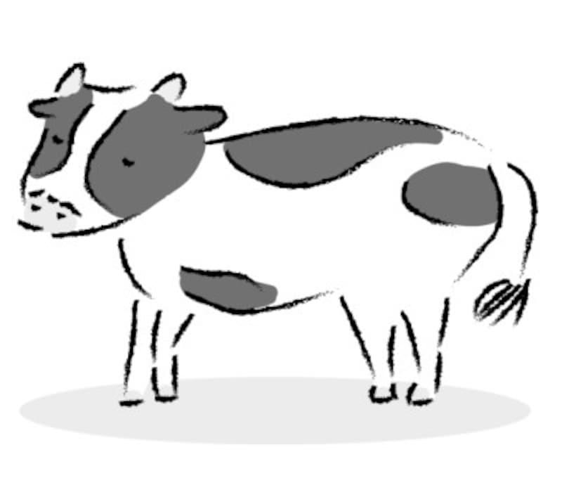 うし 牛 ウシ 丑 イラスト 年賀状 2021干支 無料 フリー 手描き風 かわいい白黒