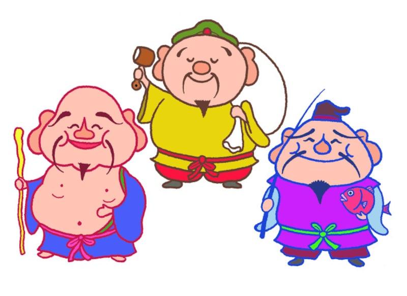 大黒天(写真中央)、恵比寿(写真右)、布袋尊(写真左)は、七福神の中でもとりわけ福耳です