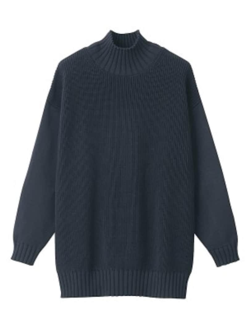 無印良品 中空糸で編んだ 畦編みハイネックチュニック 6990円(税込)