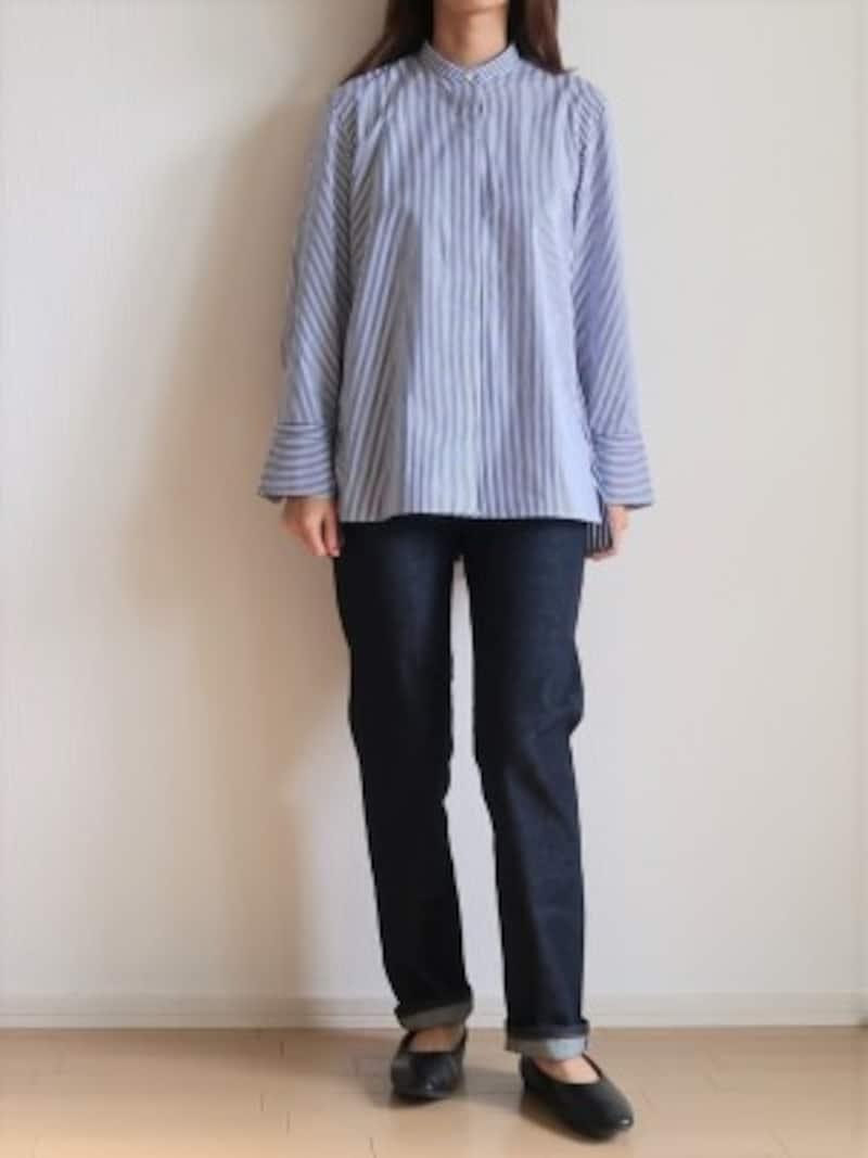 ユニクロ スーピマコットンスタンドカラーストライプシャツ 3990円(税抜)