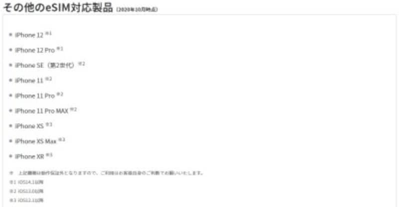 e-SIM対応製品に名を連ねるiPhoneXR以降のラインナップ