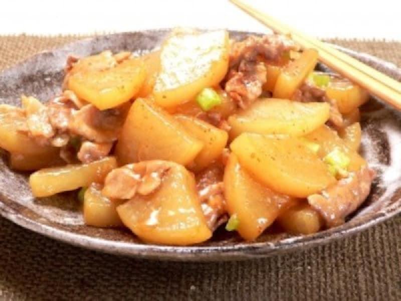 大根のおかずレシピ豚こま肉と大根の甘辛炒め