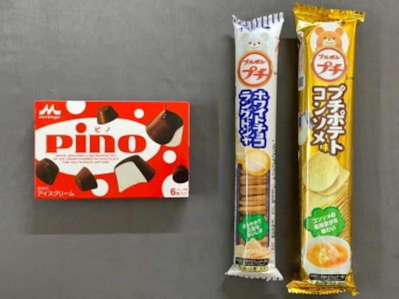 現在販売中の森永乳業Pinoとブルボンプチシリーズ