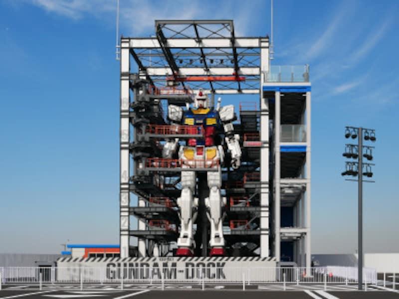 実物大の動くガンダムを格納する「GUNDAM-DOCK(ガンダムドック)」(2020年11月30日撮影)