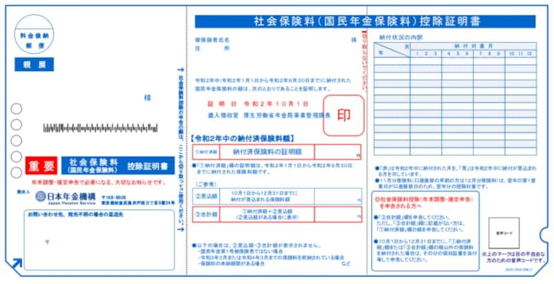 年末調整,確定申告,社会保険料控除証明書