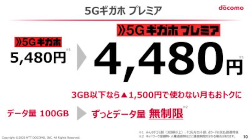 「5Gギガホプレミア」の概要。「5Gギガホ」でキャンペーン扱いだったデータ通信無制限が正式なものとなっている