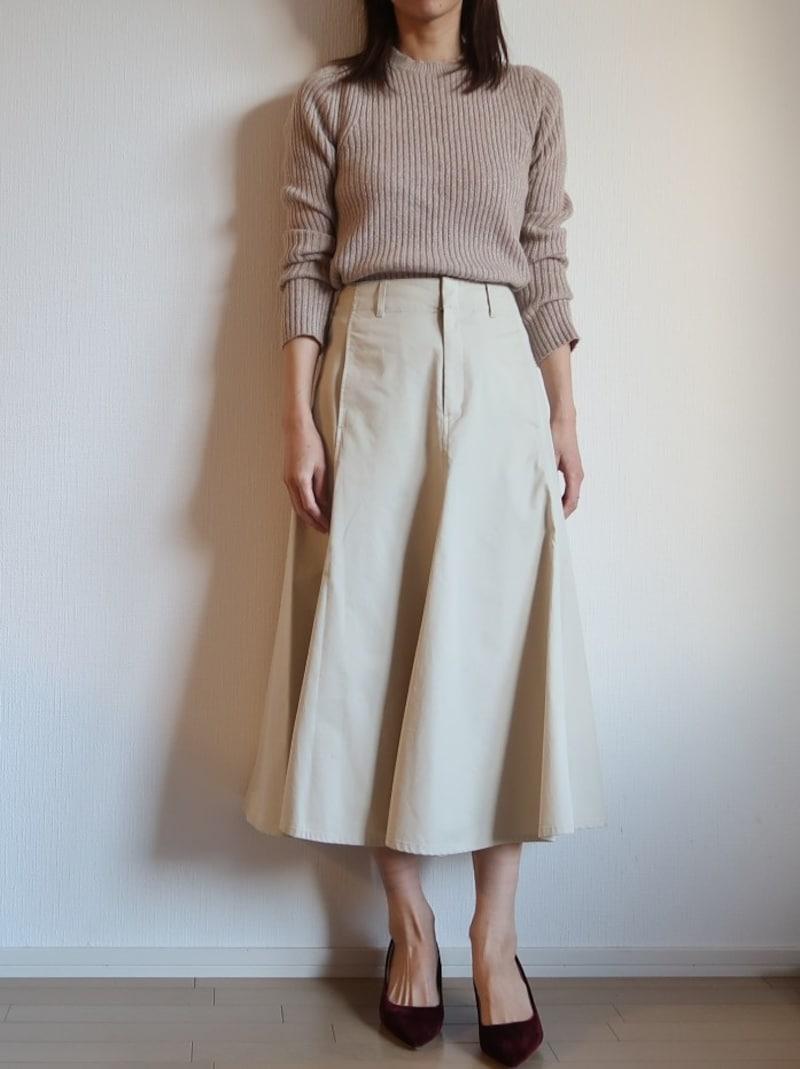 フレア スカート ツイル コットン
