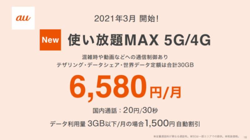 auブランドの新料金プラン「使い放題MAX5G」「使い放題MAX4G」は、スマートフォン上でのデータ通信が使い放題ながら従来プランより安くなっている
