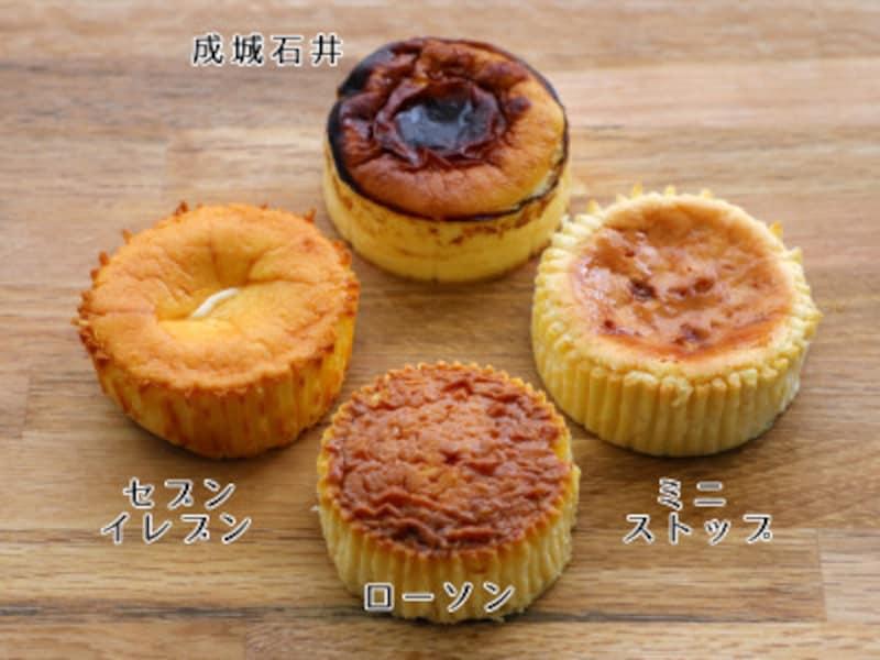バスクチーズケーキの焼き色比較。(上)成城石井(左)セブンイレブン(下)ローソン(右)ミニストップ