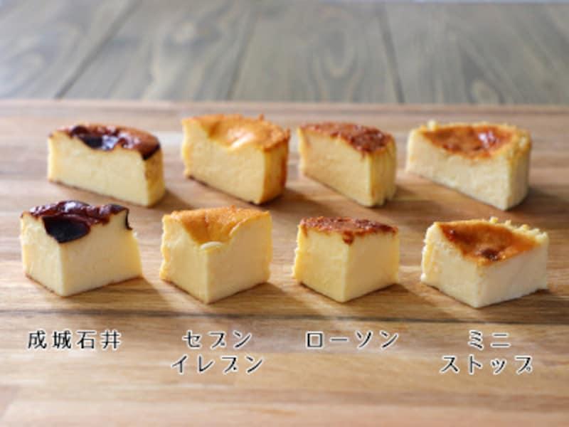 バスクチーズケーキの断面比較。(左から)成城石井、セブンイレブン、ローソン、ミニストップ。