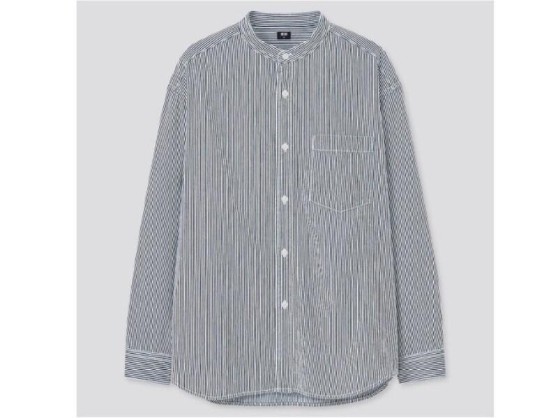 ユニクロ ヒッコリーオーバーサイズスタンドカラーシャツ 2990円(税抜)