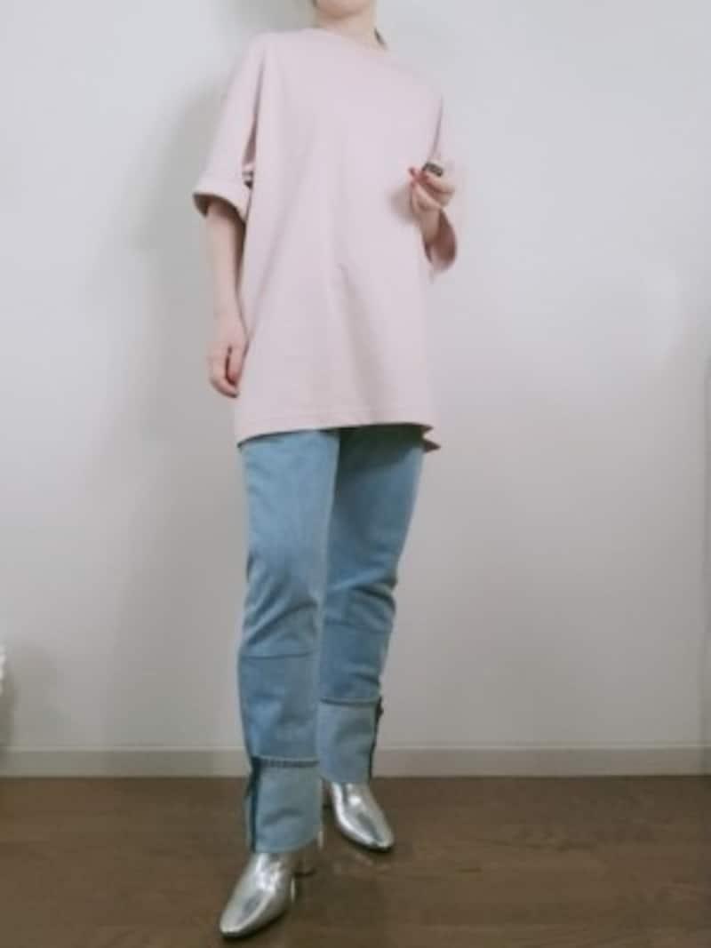 ユニクロユーメンズ「エアリズムコットンオーバーサイズTシャツ(5分袖)」カラー:10PINK、サイズ:XL