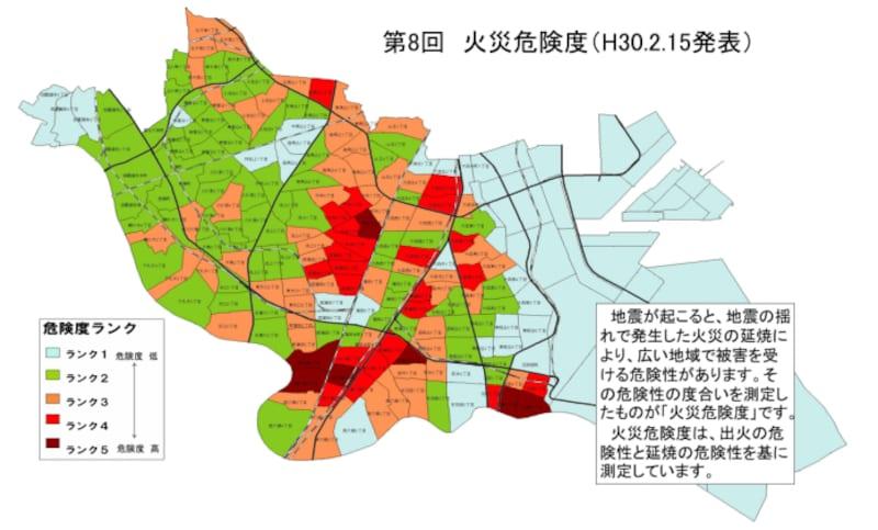 大田区の火災危険度マップ