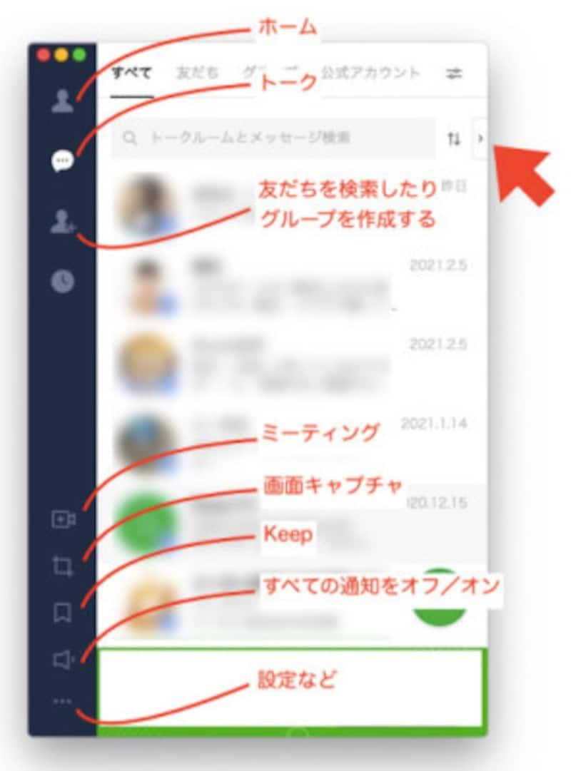 パソコン版LINEアプリの各アイコンの概要
