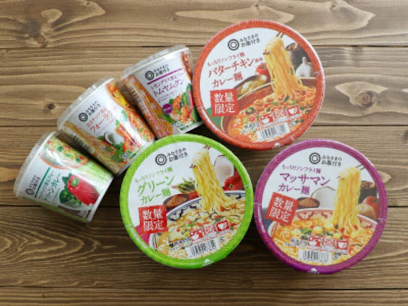 カップフォーアジア麺シリーズ3種:各95円、もっちりノンフライ麺3種:各119円。