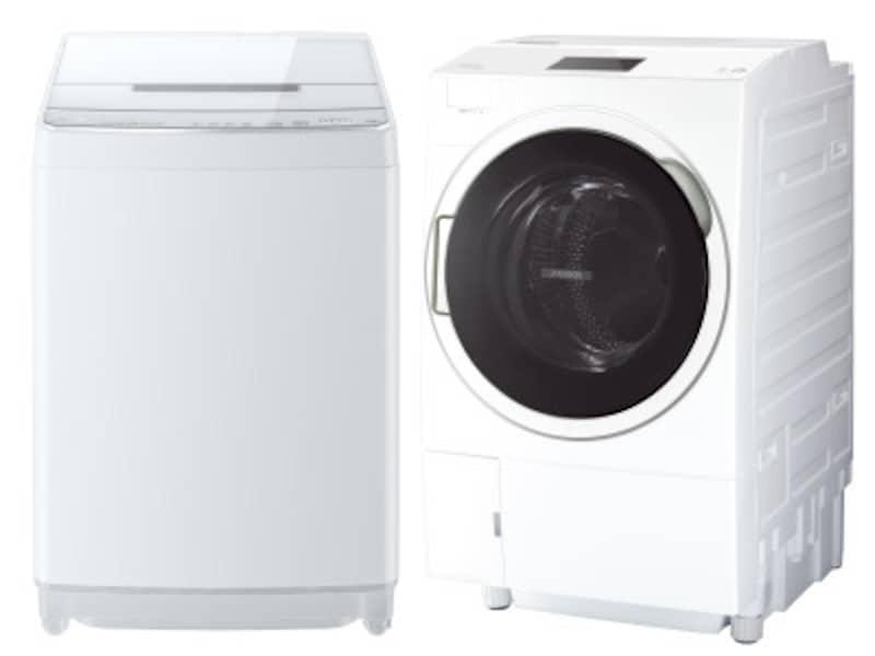 画像は東芝ライフスタイルの洗濯機「ZABOON(ザブーン)」シリーズより、全自動洗濯機(左)とドラム式洗濯乾燥機(右)