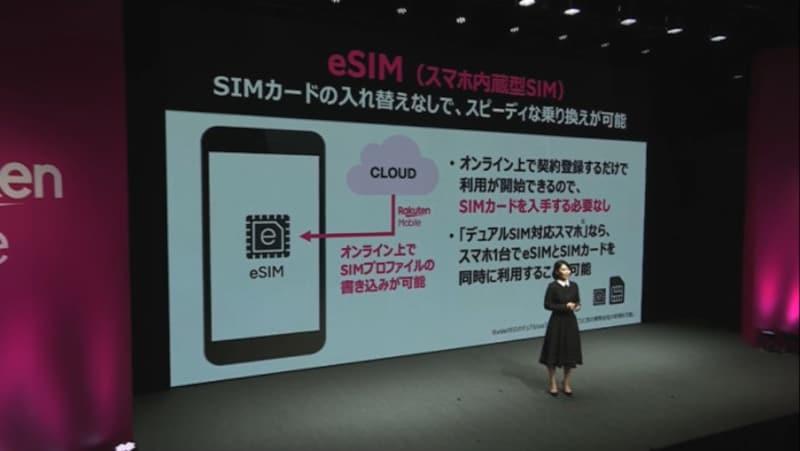 楽天モバイルは携帯4社の中でいち早くeSIMに対応、オンラインで全てが完結することをアピールしている