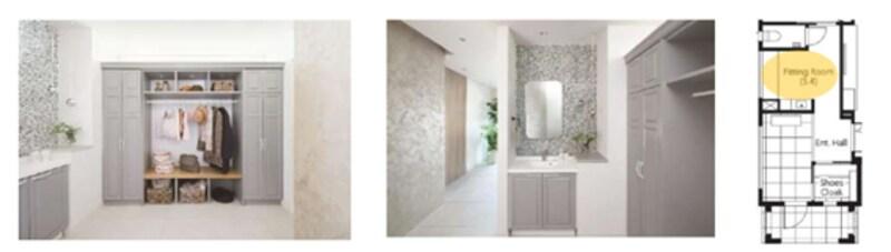 トープ色の収納扉やタイルが、上品でモダンな印象を与えるフィッティングルーム