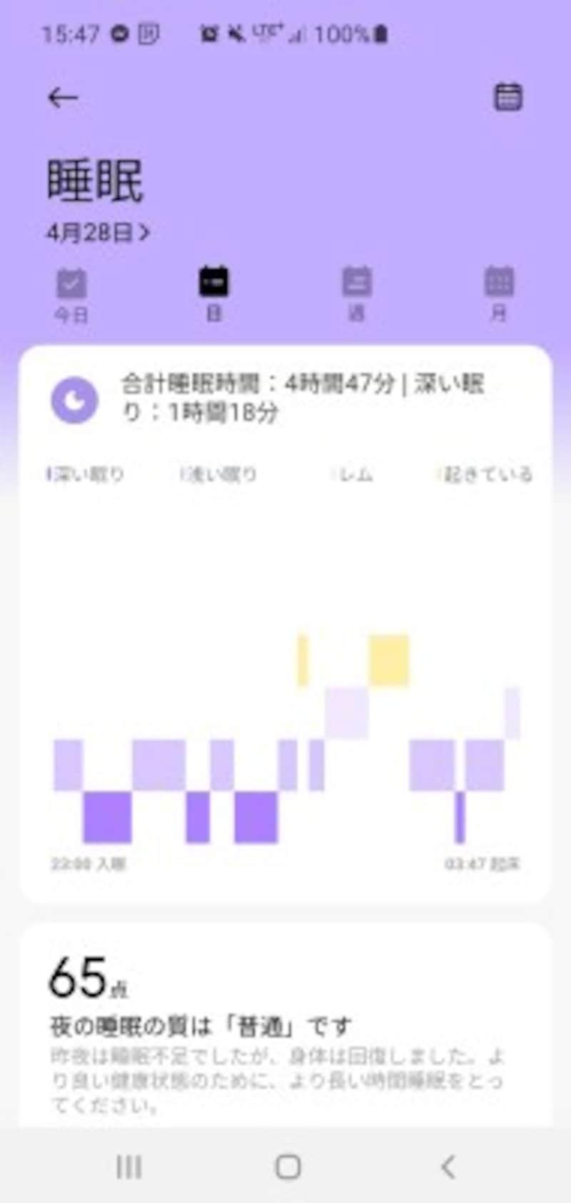 睡眠(アプリ「XiaomiWear」で表示)