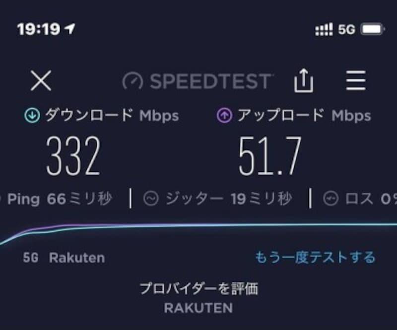 通信速度例(アプリSPEEDTESTを利用)