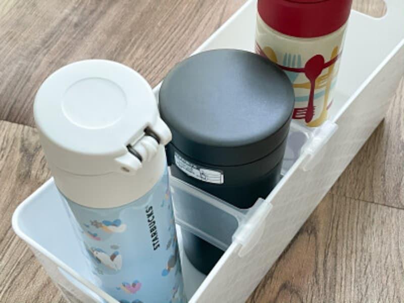水筒収納におすすめのダイソーのボックスと「ドアポケット用仕切り