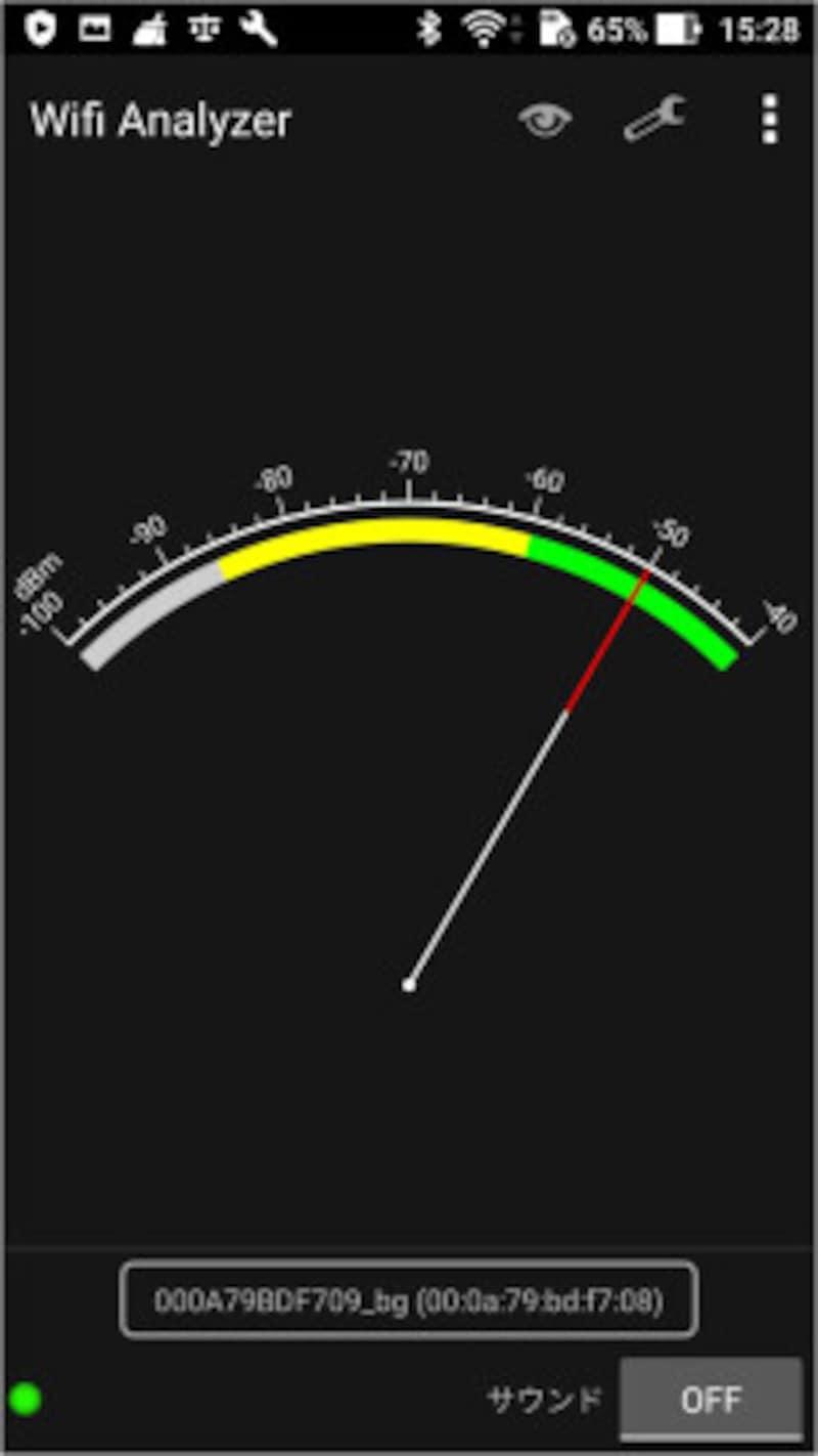 これがWifiAnalyzer。下に調査対象のSSIDが表示される。dB表示なので絶対値が低いほど電波強度が強い