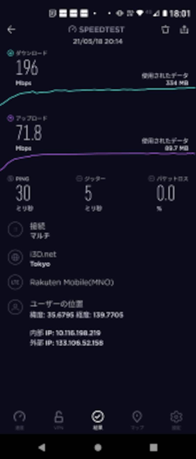 5G通信の例(回線は楽天モバイル、アプリSPEEDTEST使用)