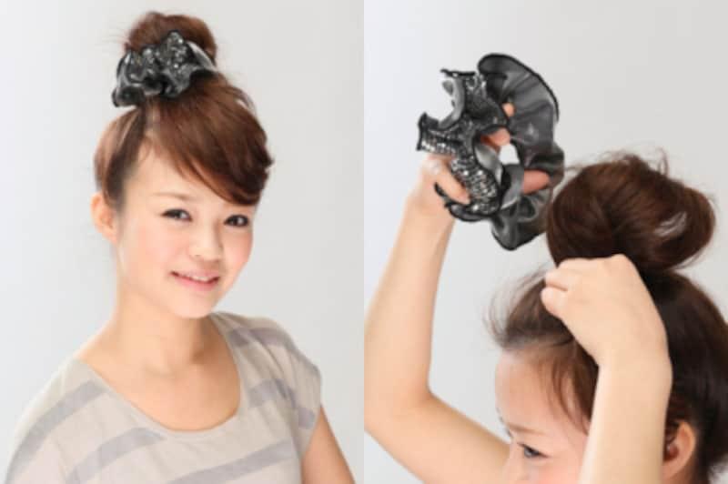 画像出典:フェイク前髪の作り方と簡単お団子ヘアアレンジのやり方・方法