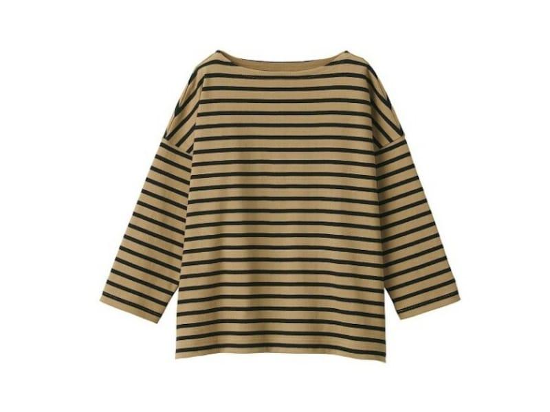無印良品 太番手天竺編みボートネック七分袖Tシャツ 1990円(税込)