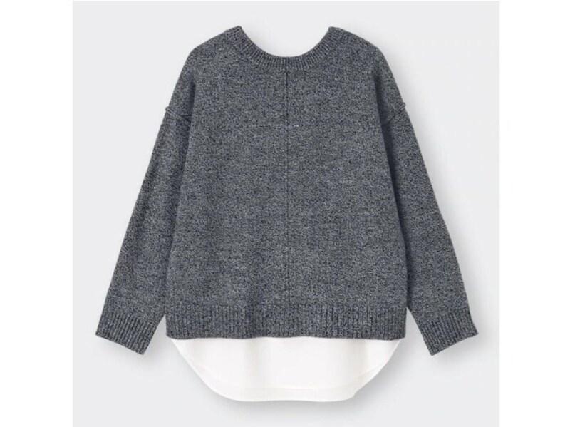 GU2WAYシャツテールコンビネーションセーター2490円(税込)