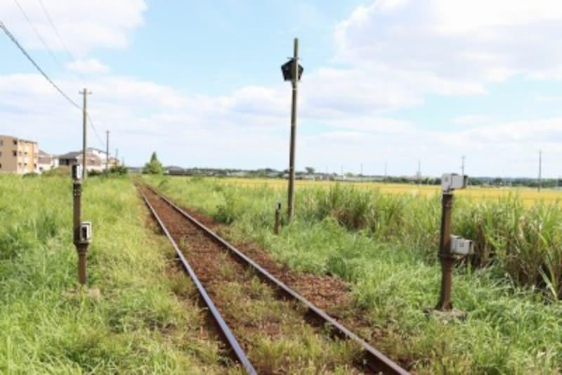 田園地帯の中をまっすぐに延びる線路