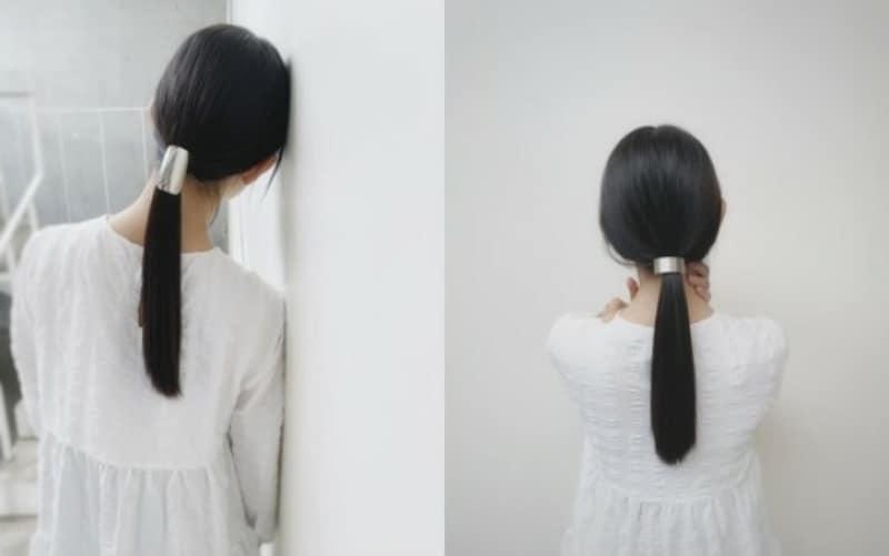 シンプルアレンジおすすめ3:暗髪シンプルひとつ結び