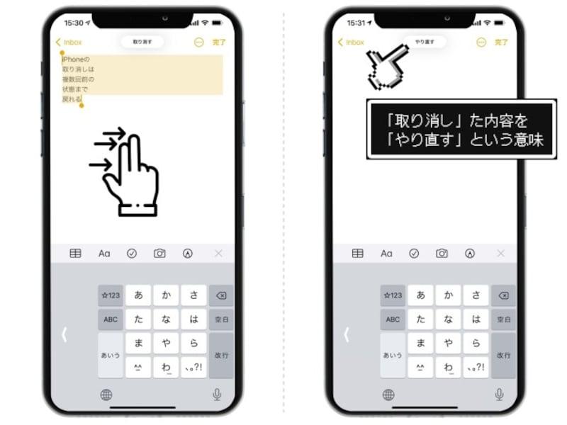 iPhoneの取り消し(UNDO)をする方法