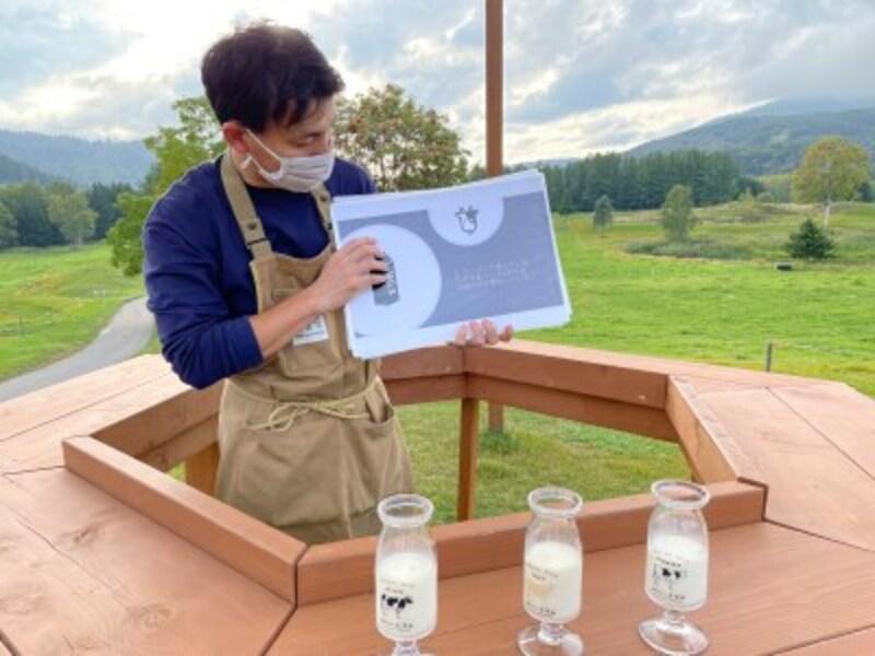 モーモー学校。牛の種類や個体ごとの牛乳の味の違いを味わえるのは、他ではできない体験