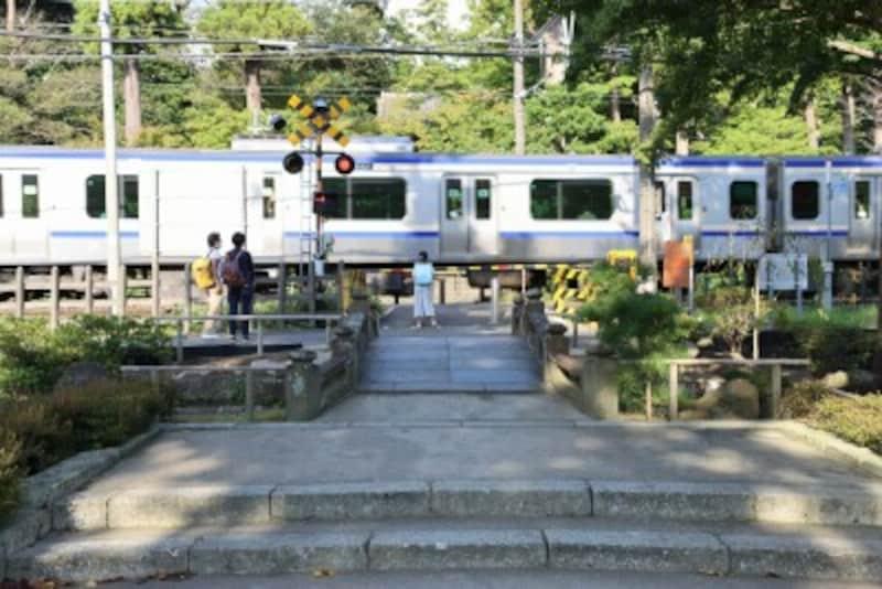 円覚寺の参道を横切る横須賀線