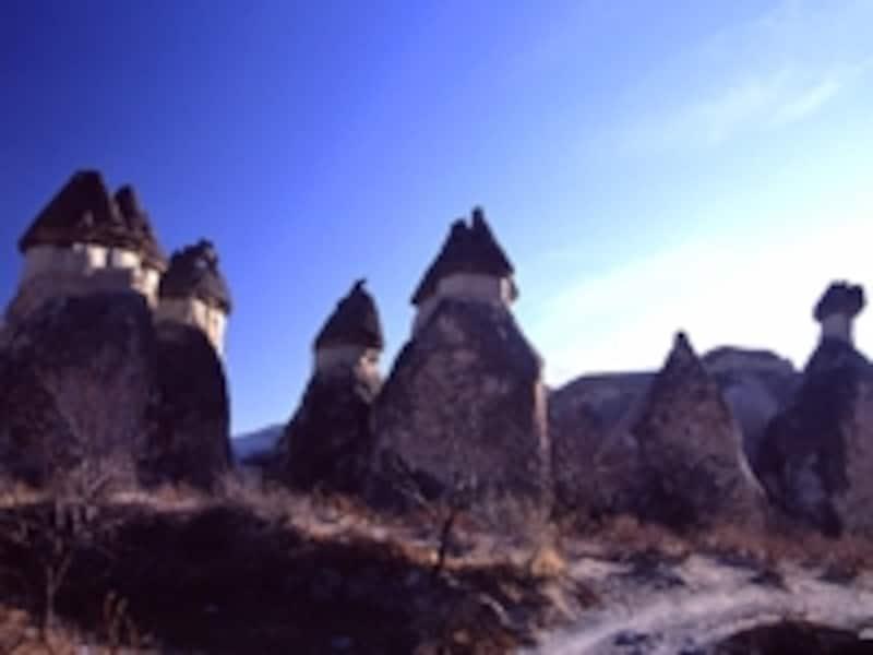 ギョレメ近郊にあるゼルヴェ屋外博物館のキノコ岩。カッパドキアといっても場所によって奇岩の種類は異なる ©牧哲雄
