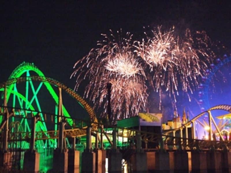 湖上に花火が映える東武動物公園の「花火イリュージョン」