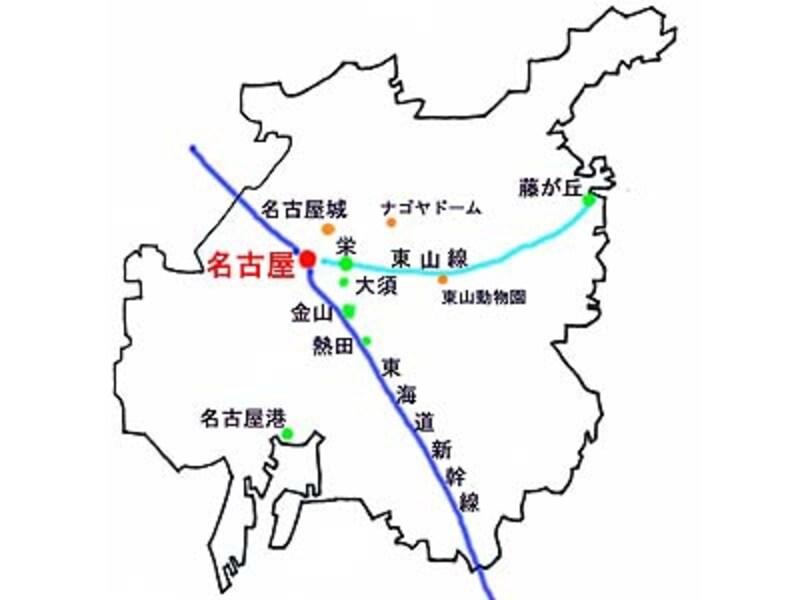 名古屋市内全域図。「名古屋」~「藤が丘」間は地下鉄で26分